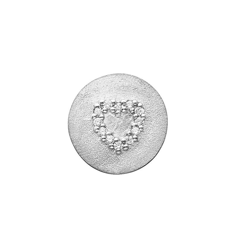 Image of   Story charm i mat sølv med hjerte