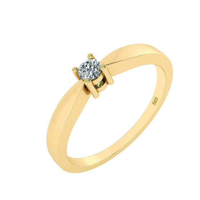 Image of   14 Karat Guld Ring med Brillant 50-00523BL-1850