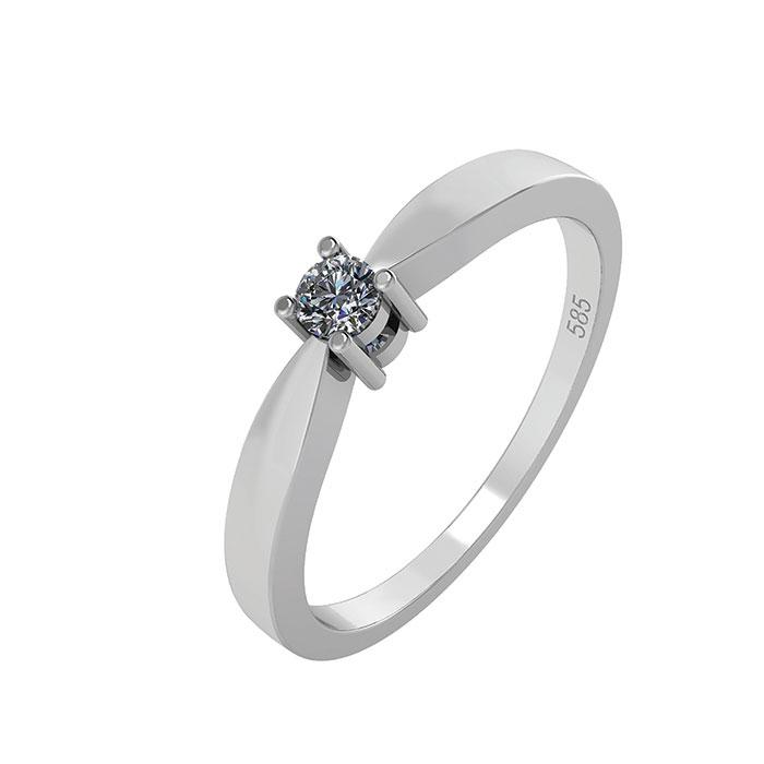 Image of   14 Karat Hvidguld Ring med Brillant 50-00523BL-1855