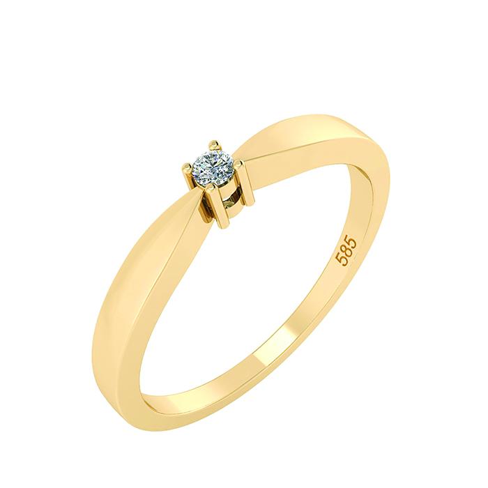14 Karat Guld Ring fra Smykkekæden med Diamant 0,03 Carat W/SI