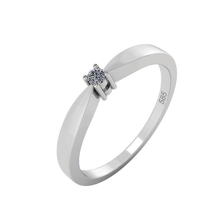 Image of   14 Karat Hvidguld Ring med Diamant 50-00552L-1855