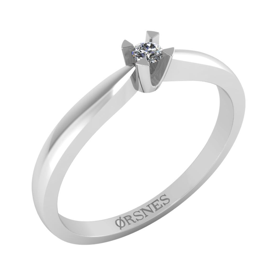 Image of   14 Karat Hvidguld Ring fra Smykkekæden med Brillant 0,05 Carat TW/SI