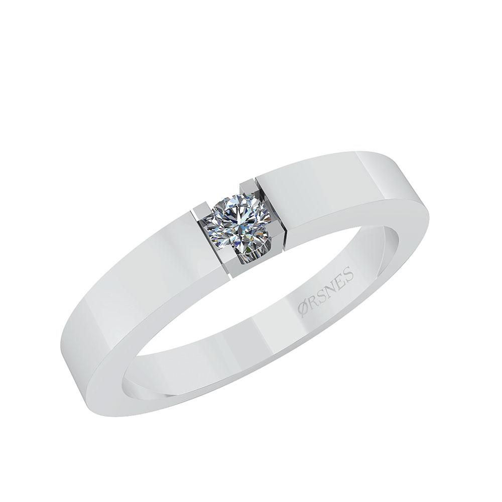 Image of   Alliance 14 Karat Hvidguld Ring fra Smykkekæden med Brillant 0,10 Carat TW/SI