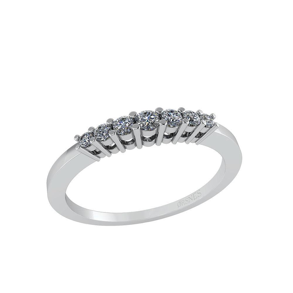 Image of   Smykkekæden 14 Karat Hvidguld Ring med Brillanter 0,14 Carat W/SI