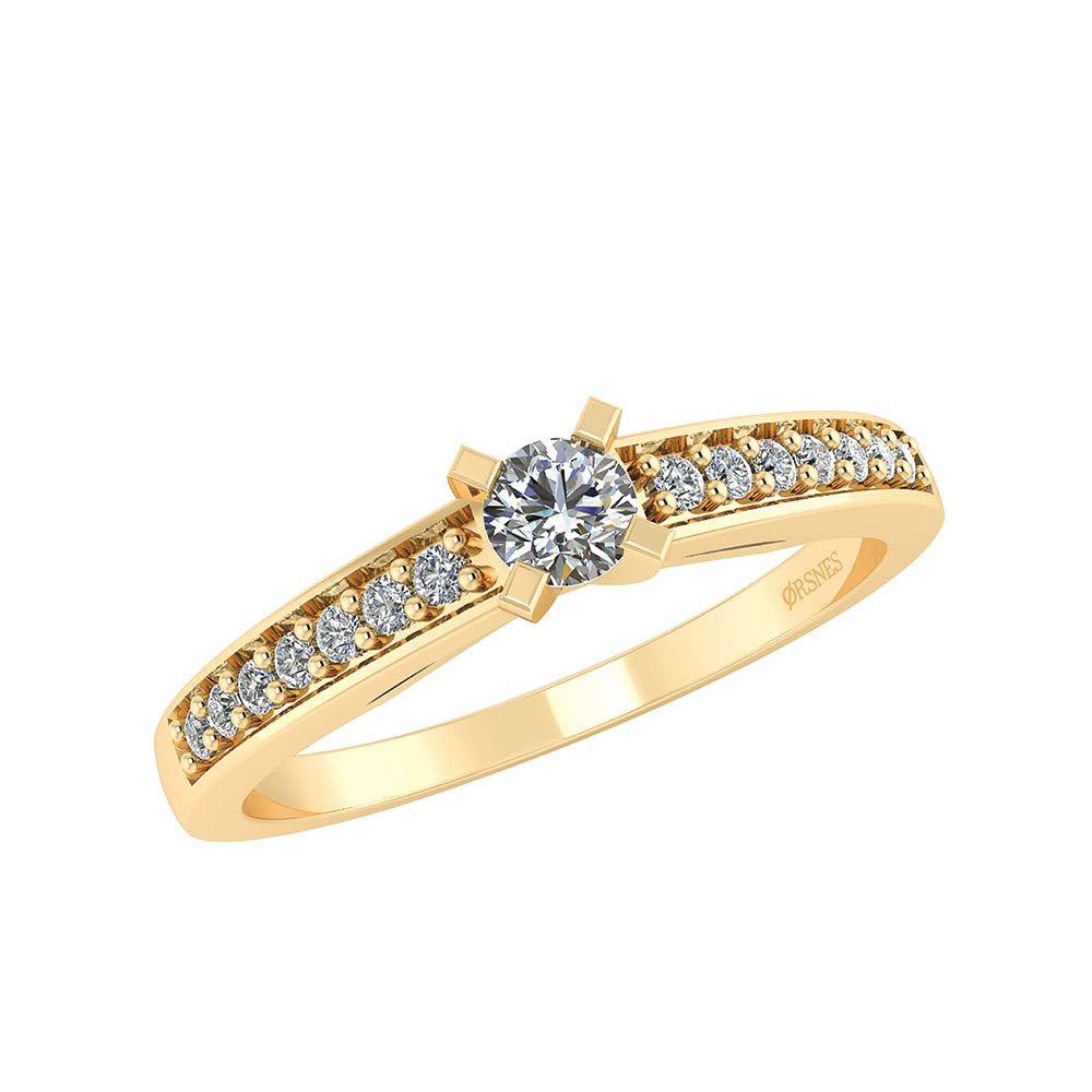 Image of   Smykkekæden 14 Karat Guld Ring med Brillanter 0,17 Carat W/SI