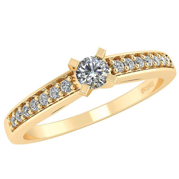Henrik Feline 14 Karat Guld Ring med Diamanter 0,17 Carat W/SI