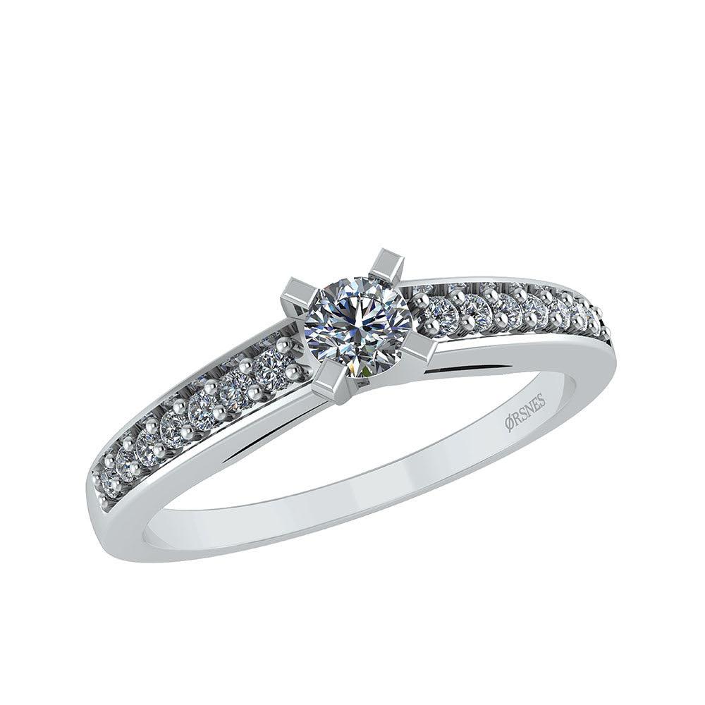 Smykkekæden 14 Karat Hvidguld Ring med Diamanter 0,17 Carat W/SI