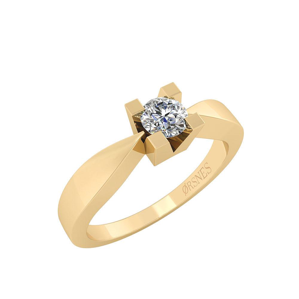 Image of   Smykkekæden Ring i 14 Karat Guld med Diamant 0,50 Carat W/SI