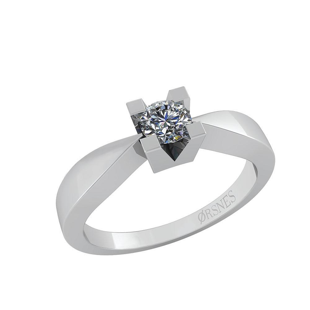 Image of   14 Karat Hvidguld Ring fra Smykkekæden med Diamant 0,40 Carat W/SI
