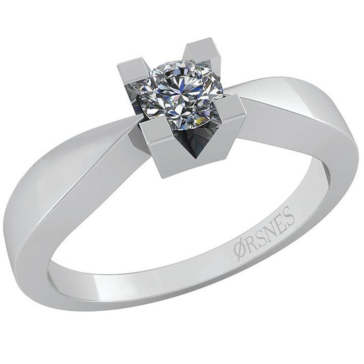 14 Karat Hvidguld Ring fra Smykkekæden med Diamant 0,40 Carat W/SI