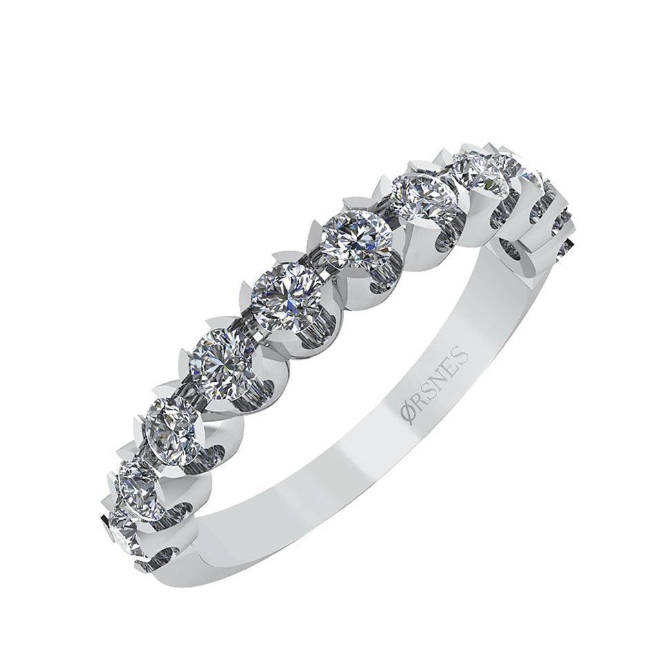 Image of   Smykkekæden 14 Karat Hvidguld Ring med Brillanter 0,66 Carat W/SI