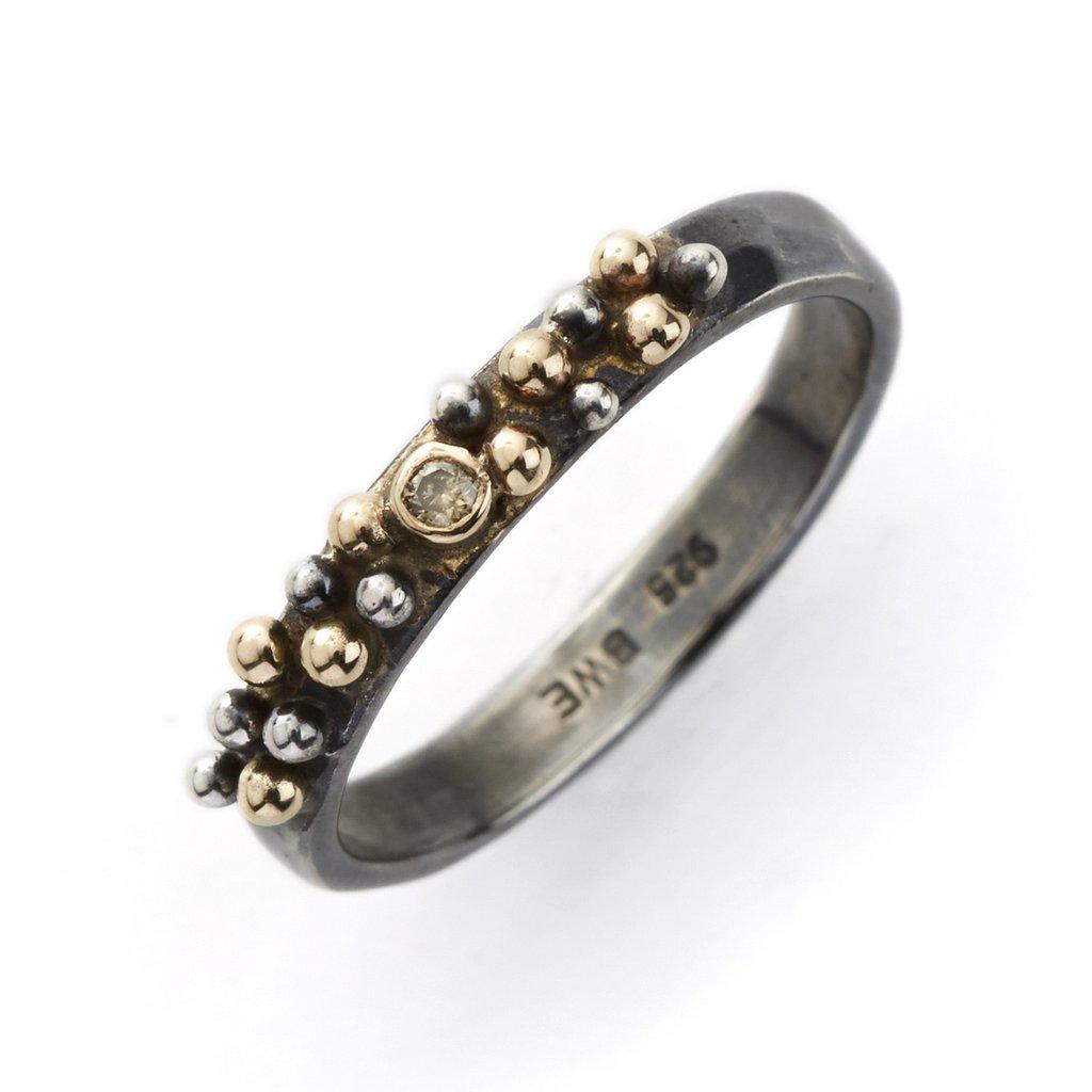 Image of   By Birdie Harlem Shake Sterling Sølv Ring med 14 Karat Guld og Brillant 0,03 Carat