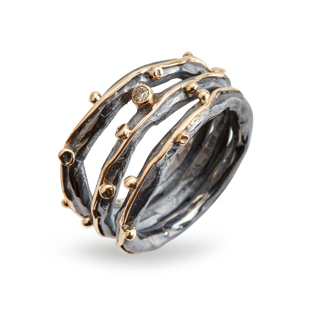 Zeus Tribeca Sterling Sølv Ring fra By Birdie med Diamant 0,05 Carat