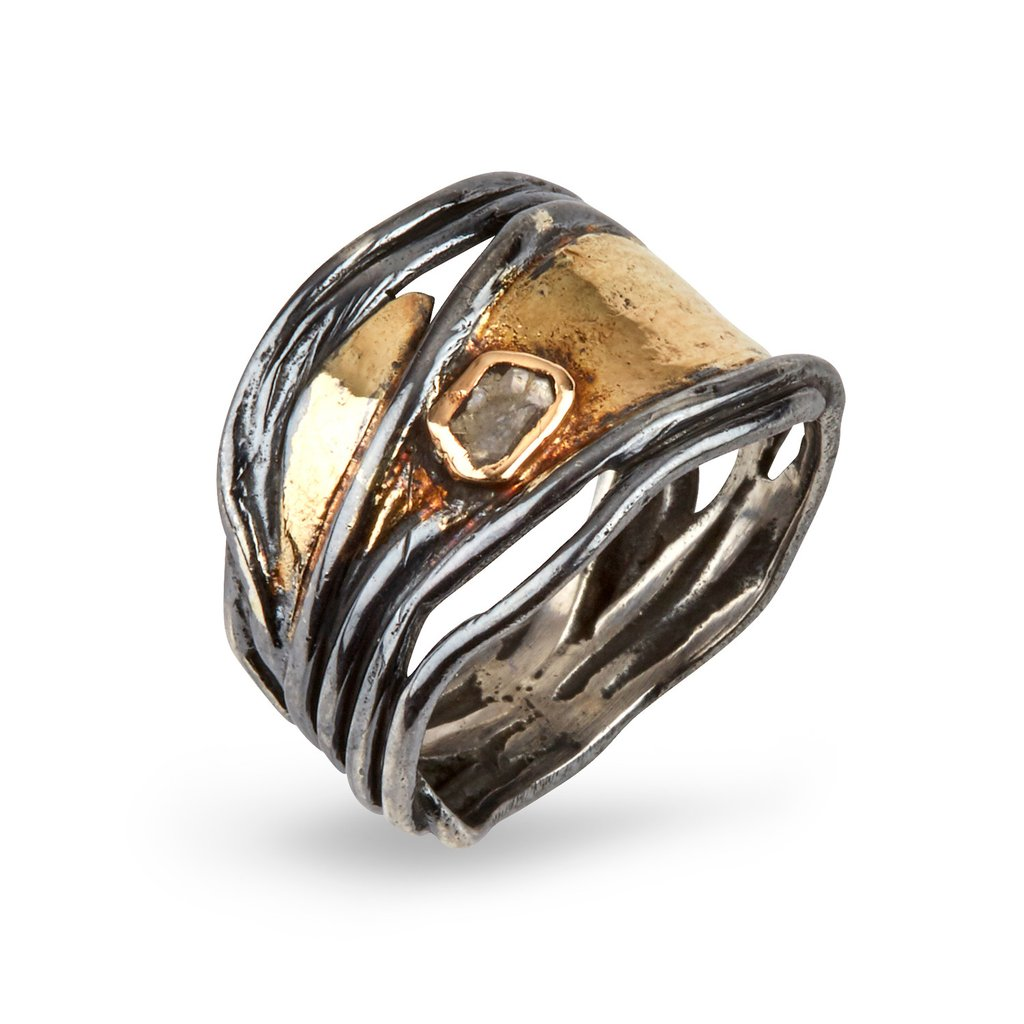 Hubble Sterling Sølv Ring fra By Birdie med 14 Karat Guld og Diamant 0,10 Carat