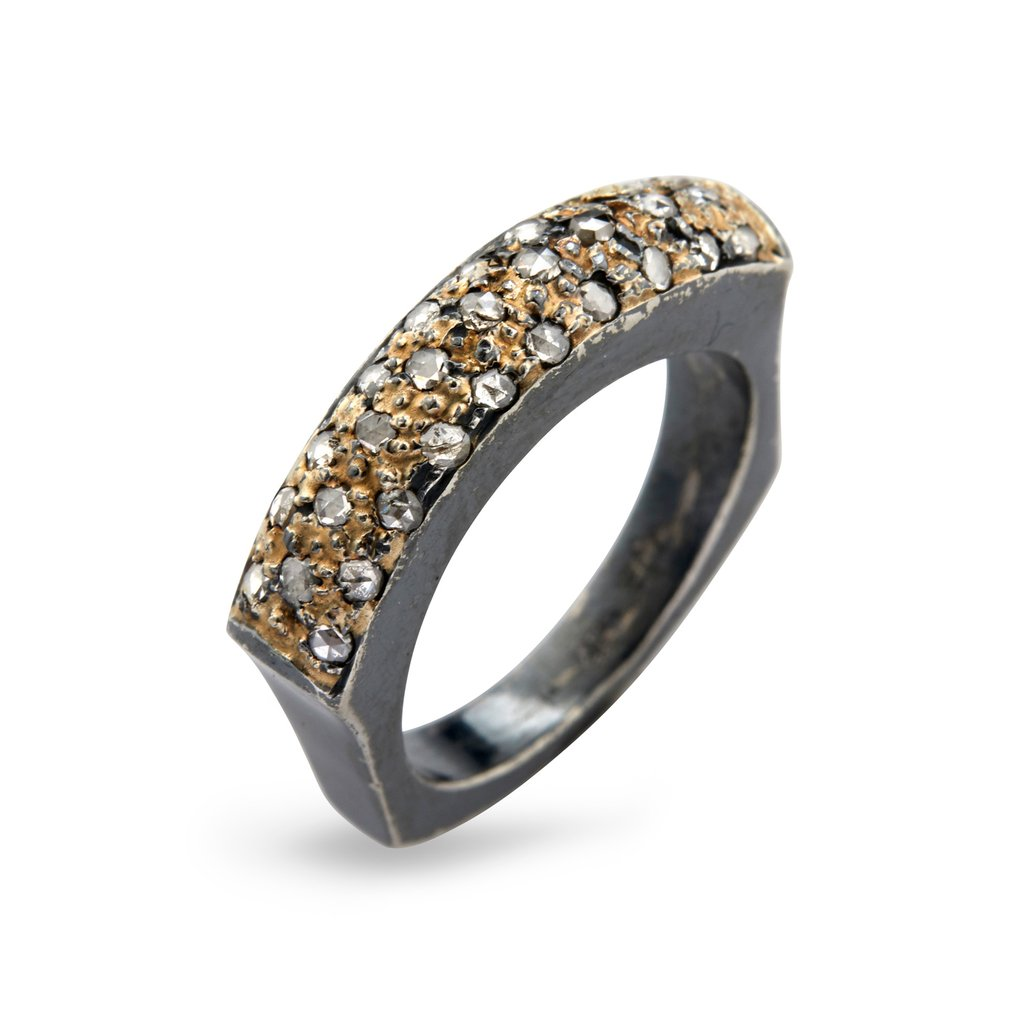 Image of   By Birdie Manhattan Sol Pavé Sterling Sølv Ring med 14 Karat Guld og Diamanter 0,60 Carat