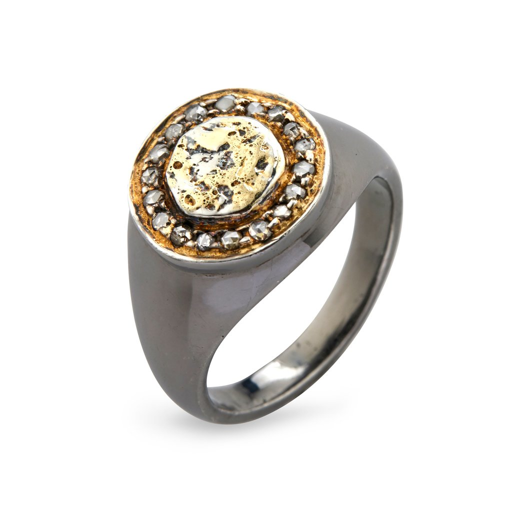 Image of   By Birdie Freja Coin Pavé Ring i Sterling Sølv med 14 Karat Guld og Brillanter 0,30 Carat