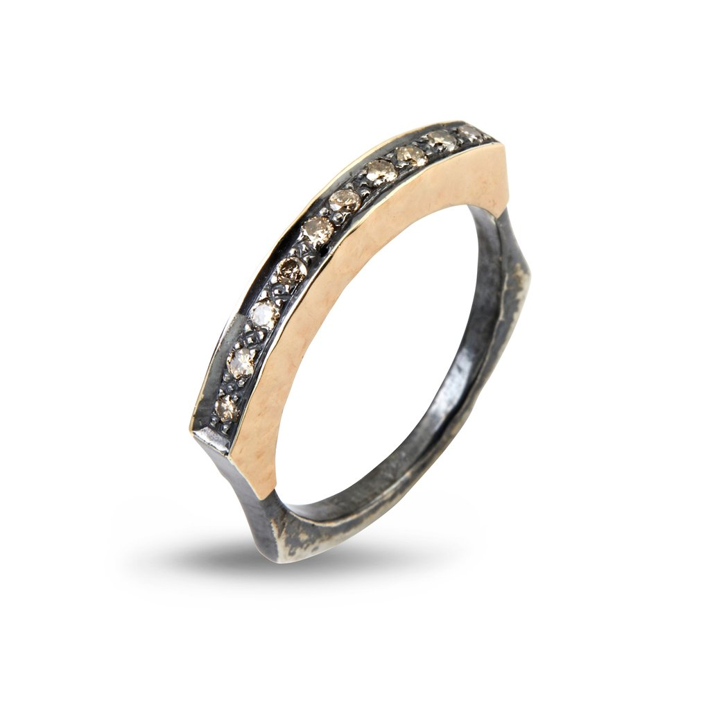 Image of   By Birdie Jersey Pave Sterling Sølv Ring med 14 Karat Guld og Diamanter 0,30 Carat