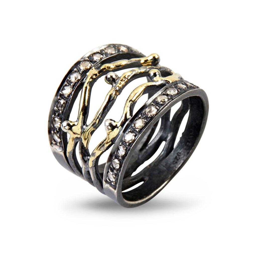 Image of   Benedict Sterling Sølv Ring fra By Birdie med 14 Karat Guld