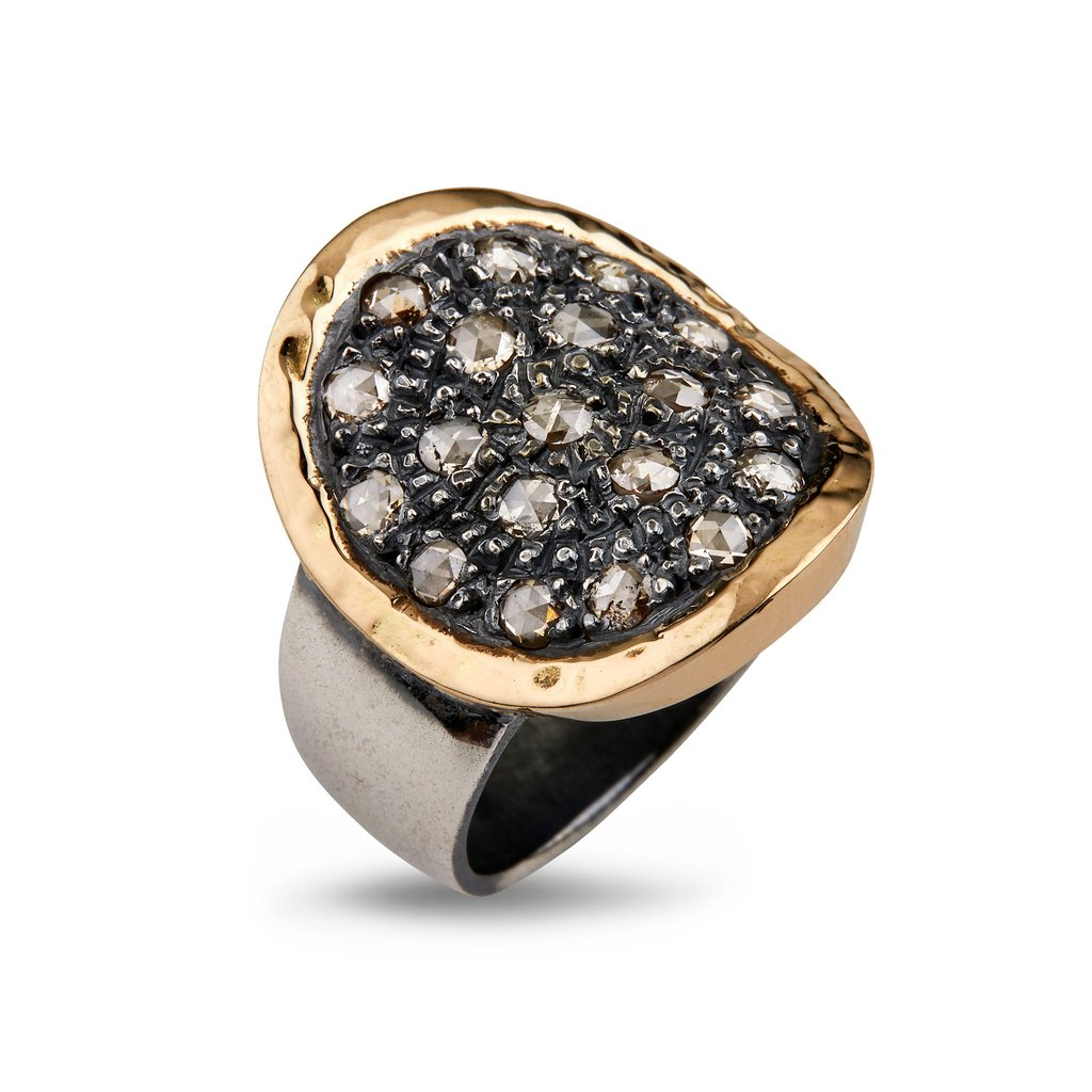 Image of   By Birdie Topkapi Sterling Sølv Ring med 14 Karat Guld og Diamanter 0,95 Carat