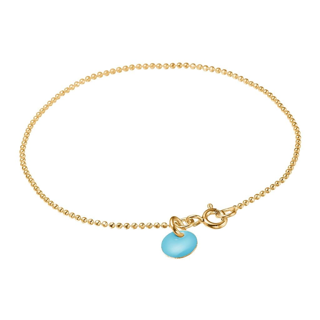 Image of   Blue Sky Ball Chain Forgyldt Sølv Armbånd fra Enamel