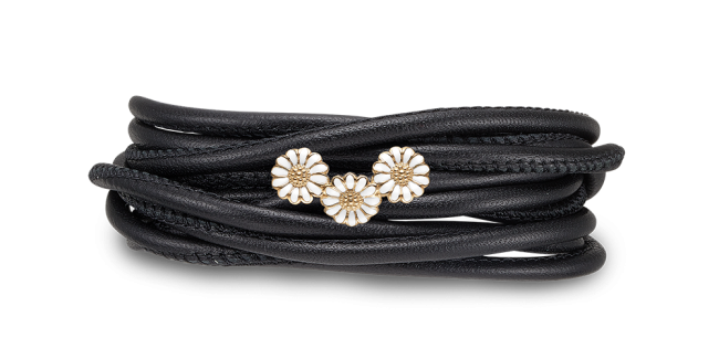 Kampagne Læder Charm fra Christina Watches med Forgyldt Marguerit Charm