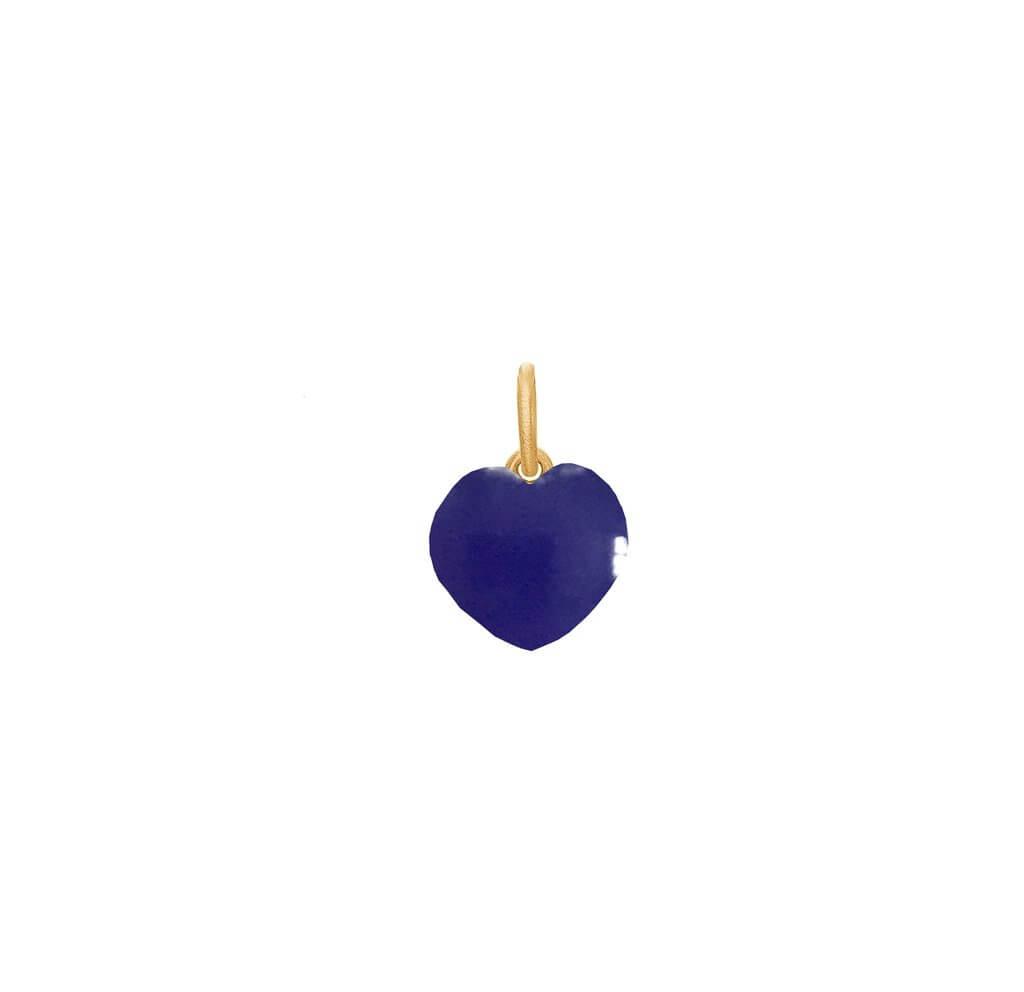 Frk Lisberg Stone Heart Forgyldt Sølv Vedhæng med Blå Kalcedon