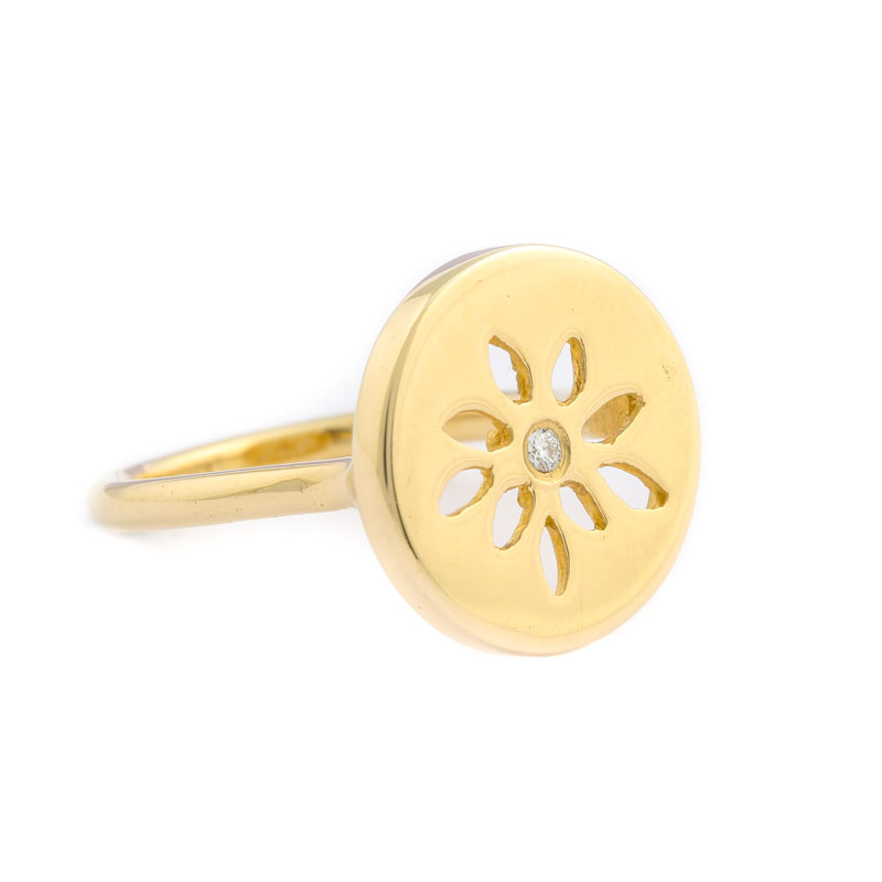 14 Karat Guld Ring fra Lene Visholm med Diamant 623L