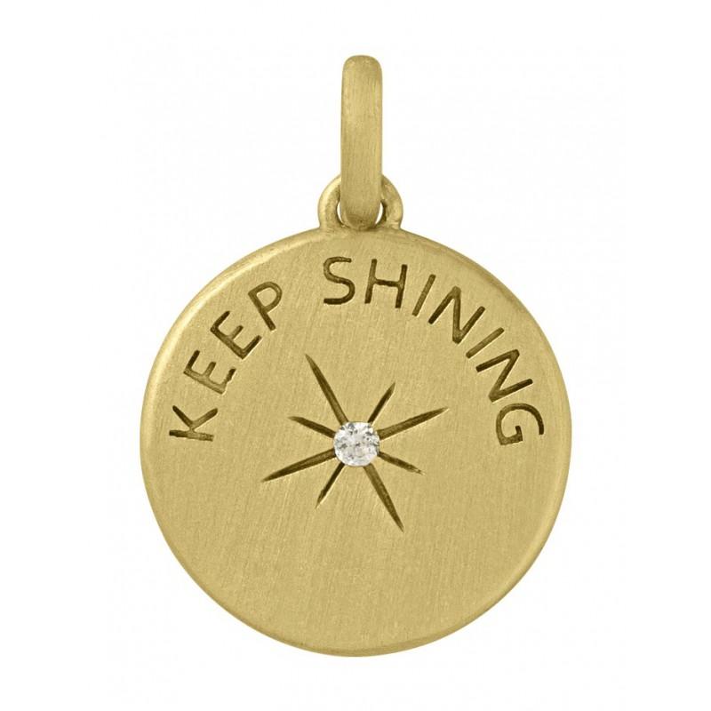 Image of   By Biehl Keep Shining Vedhæng i Forgyldt Sølv med Brillant