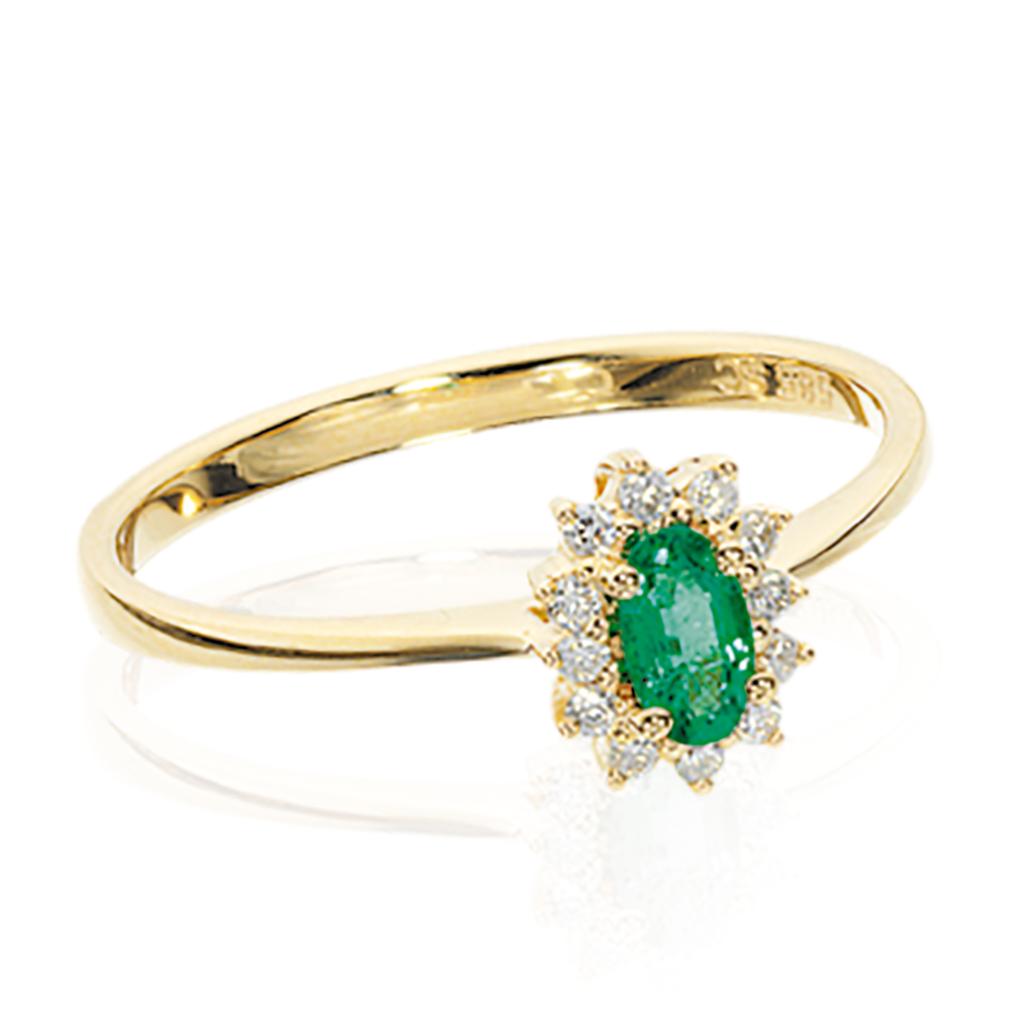 Scrouples 14 Karat Guld Ring med Smaragd 702425