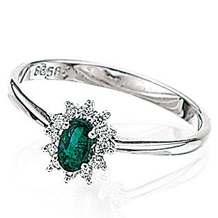 Image of   14 Karat Hvidguld Ring fra Scrouples med Samaragd