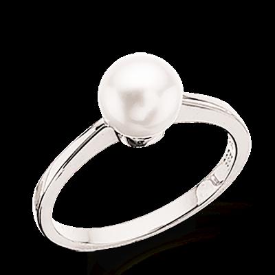 Image of   14 Karat Guld Ring fra Scrouples med Ferskvandsperle