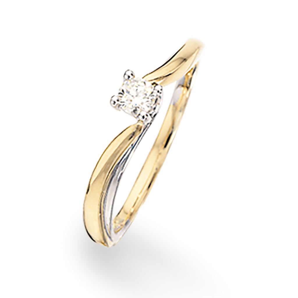 Scrouples 14 Karat Guld Ring med Diamant 0,14 Carat W/SI