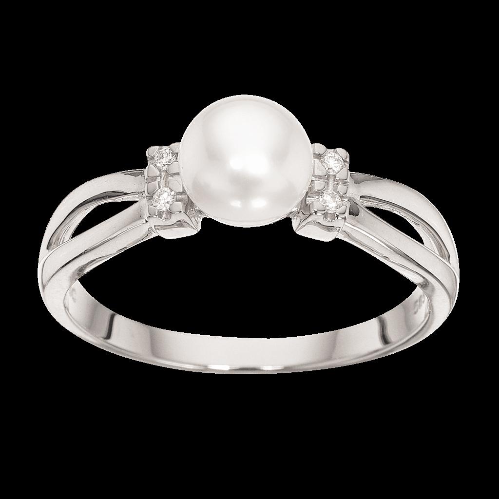 Image of   14 Karat Guld Ring fra Scrouples med Ferskvandsperle og Brillant 0,04 Carat W/SI
