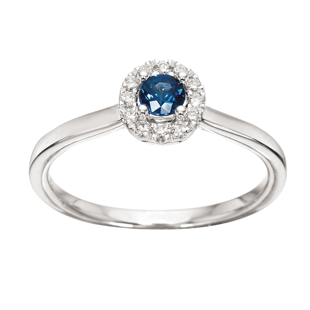 Scrouples Roset 14 Karat Hvidguld Ring med Safir og Brillanter 0,09 Carat W/SI