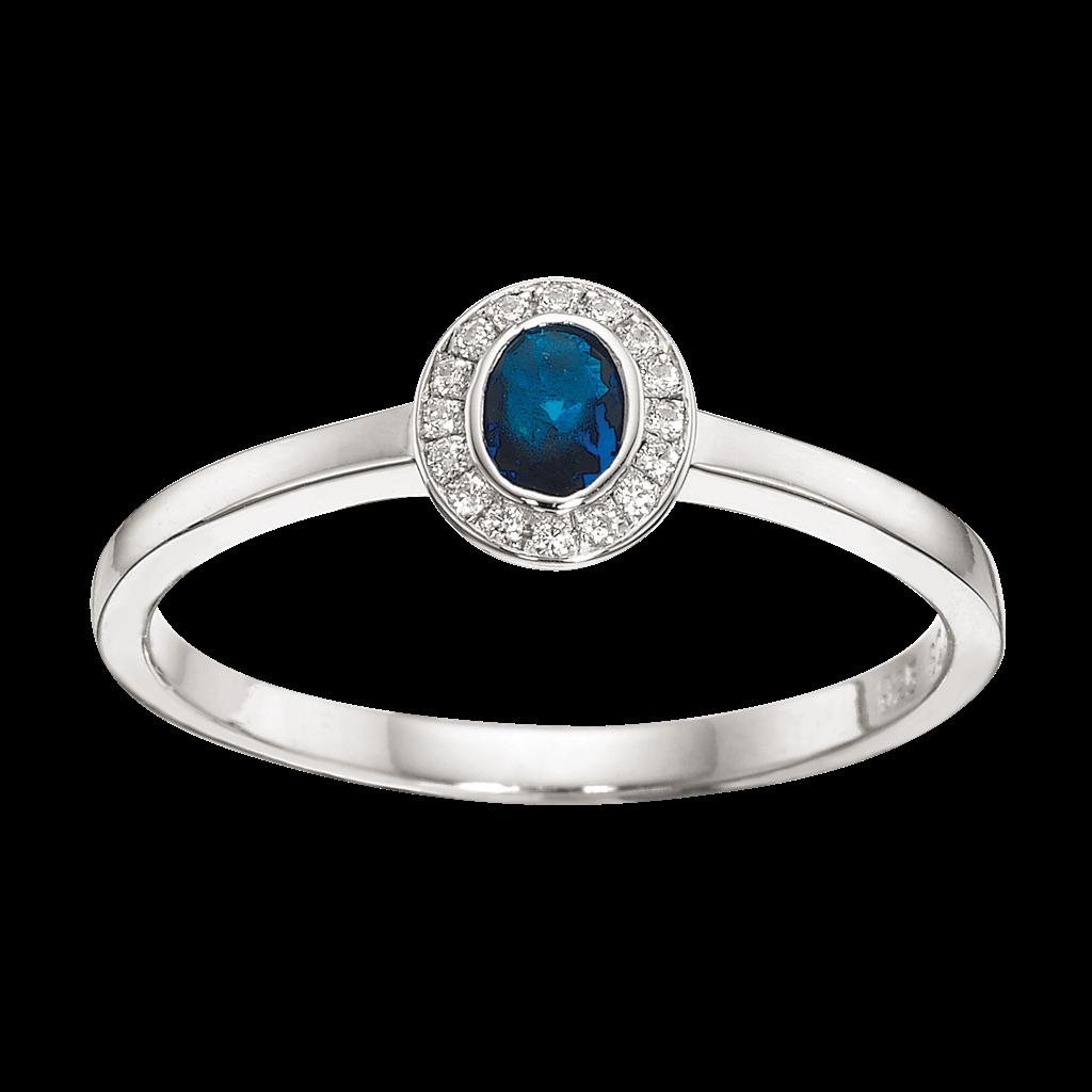 Scrouples Ring i Rhodineret Sølv med Syntetisk Safir
