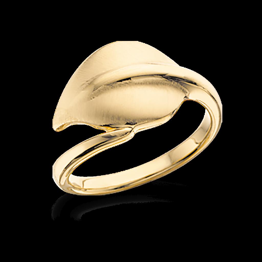 Image of   Blad Forgyldt Sølv Ring fra Scrouples 724112