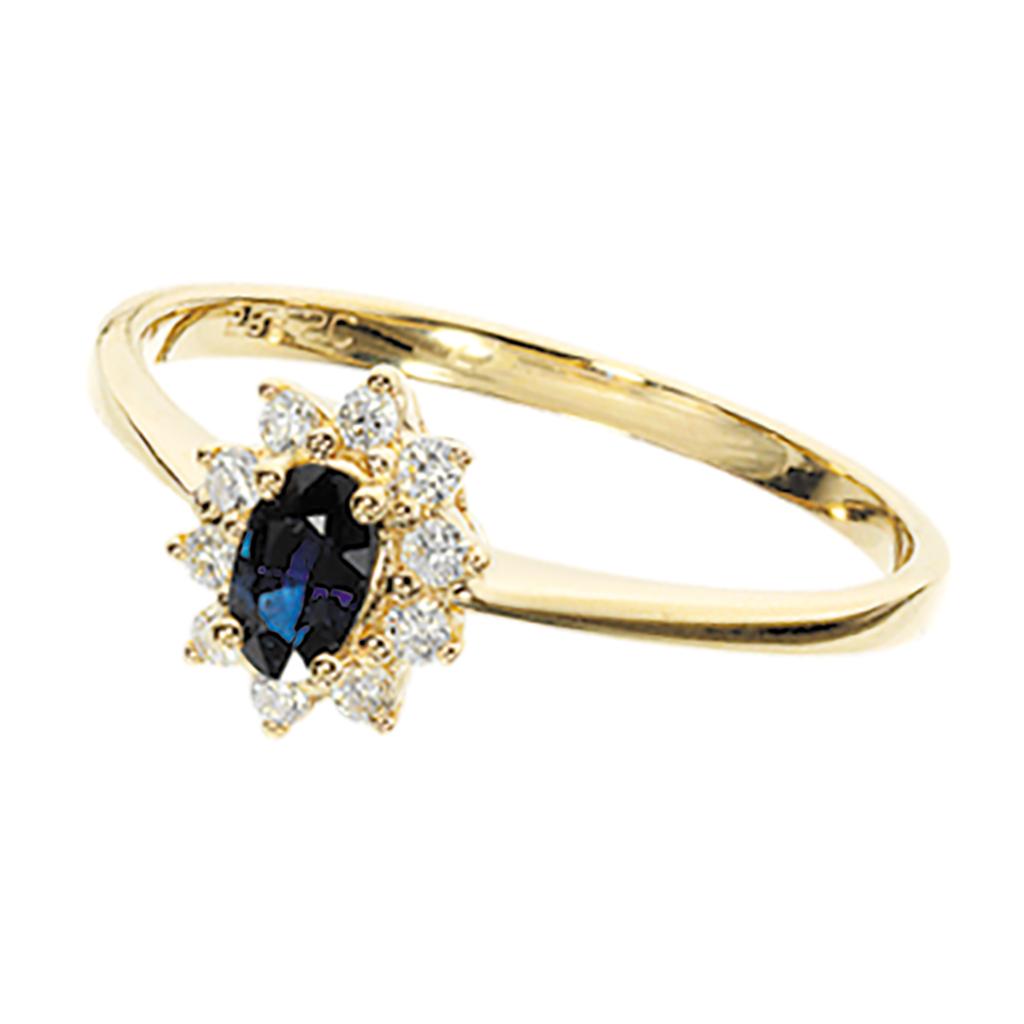 Image of   14 Karat Guld Ring fra Scrouples med Diamanter Og Safirer