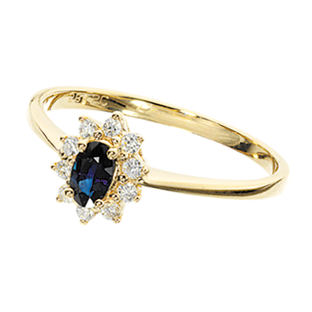 14 Karat Guld Ring fra Scrouples med Diamanter Og Safirer