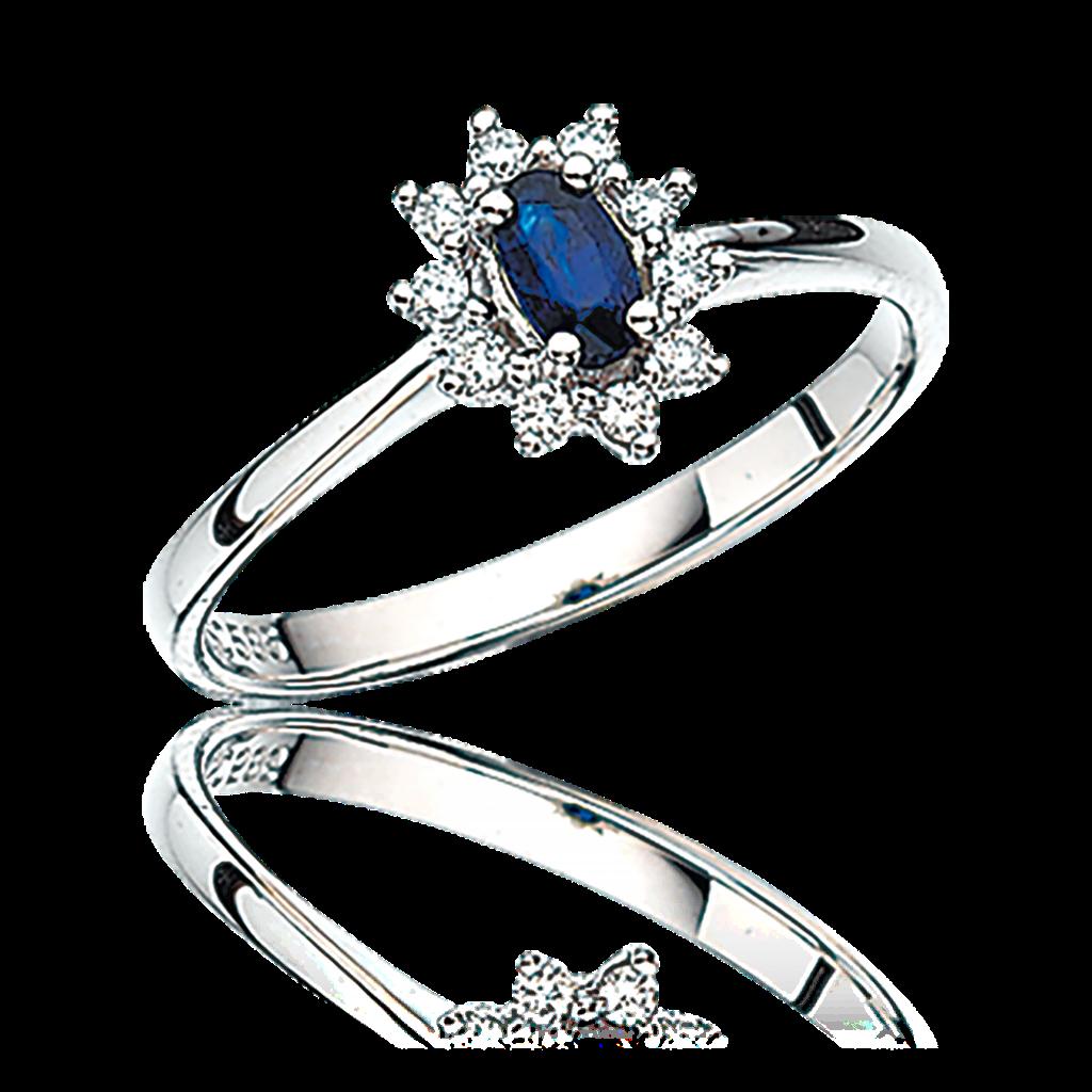 14 Karat Hvidguld Ring fra Scrouples med Safir og Brillanter 0,11 Carat W/SI
