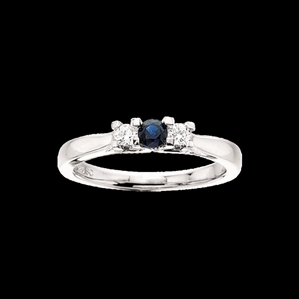 Zoya Ring 0,11 ct. i 14 Karat Hvidguld fra Scrouples med Safir og Brillanter