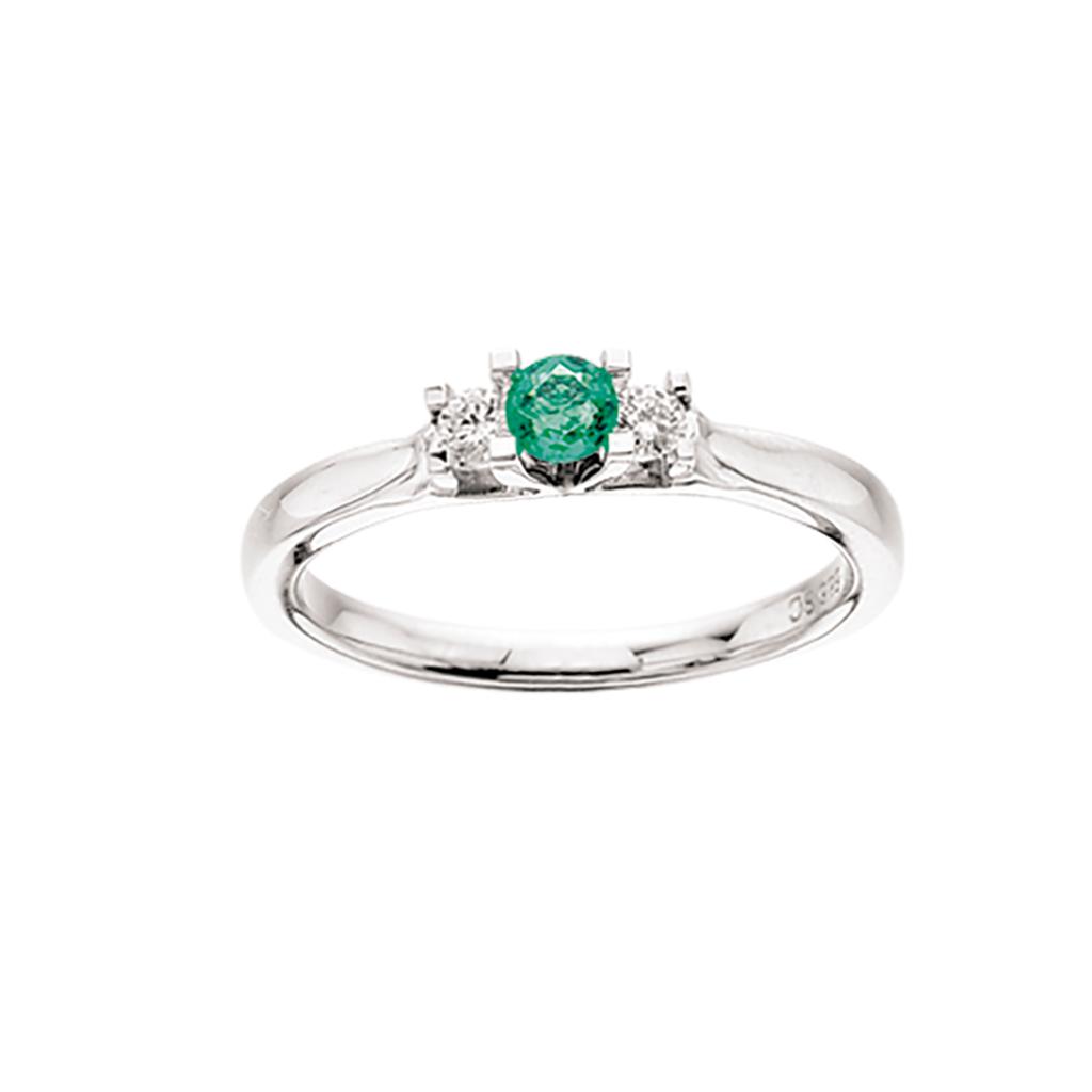 Zoya Ring 0,11 ct. i 14 Karat Hvidguld fra Scrouples med Smaragd og Brillanter