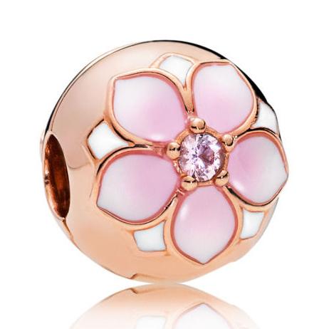Pandora Magnolia Forgyldt Sølv Vedhæng med Bloom Krystal thumbnail