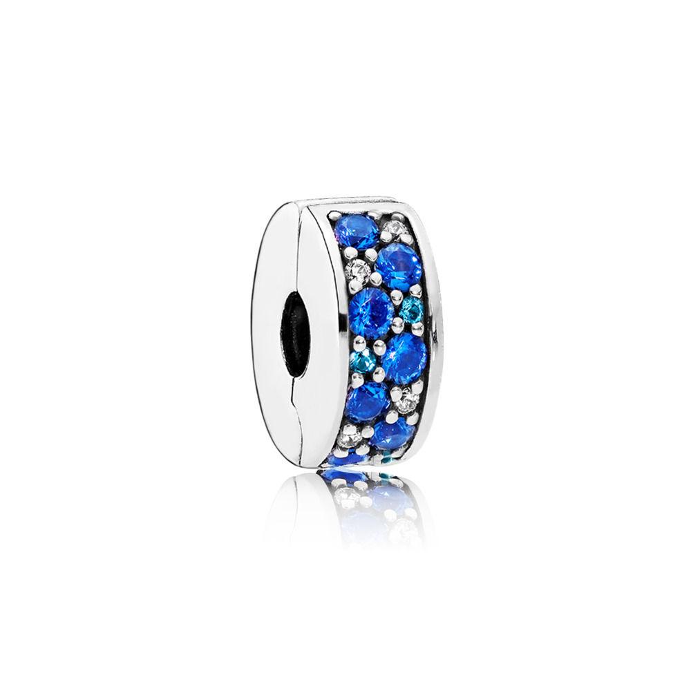 Pandora Blue Mosaic Shining Elegance Sterling Sølv Charm thumbnail
