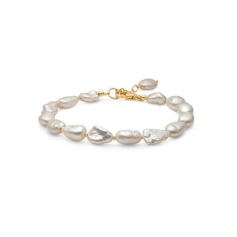 Mads Ziegler Forgyldt Sølv Armbånd med Hvide Perler