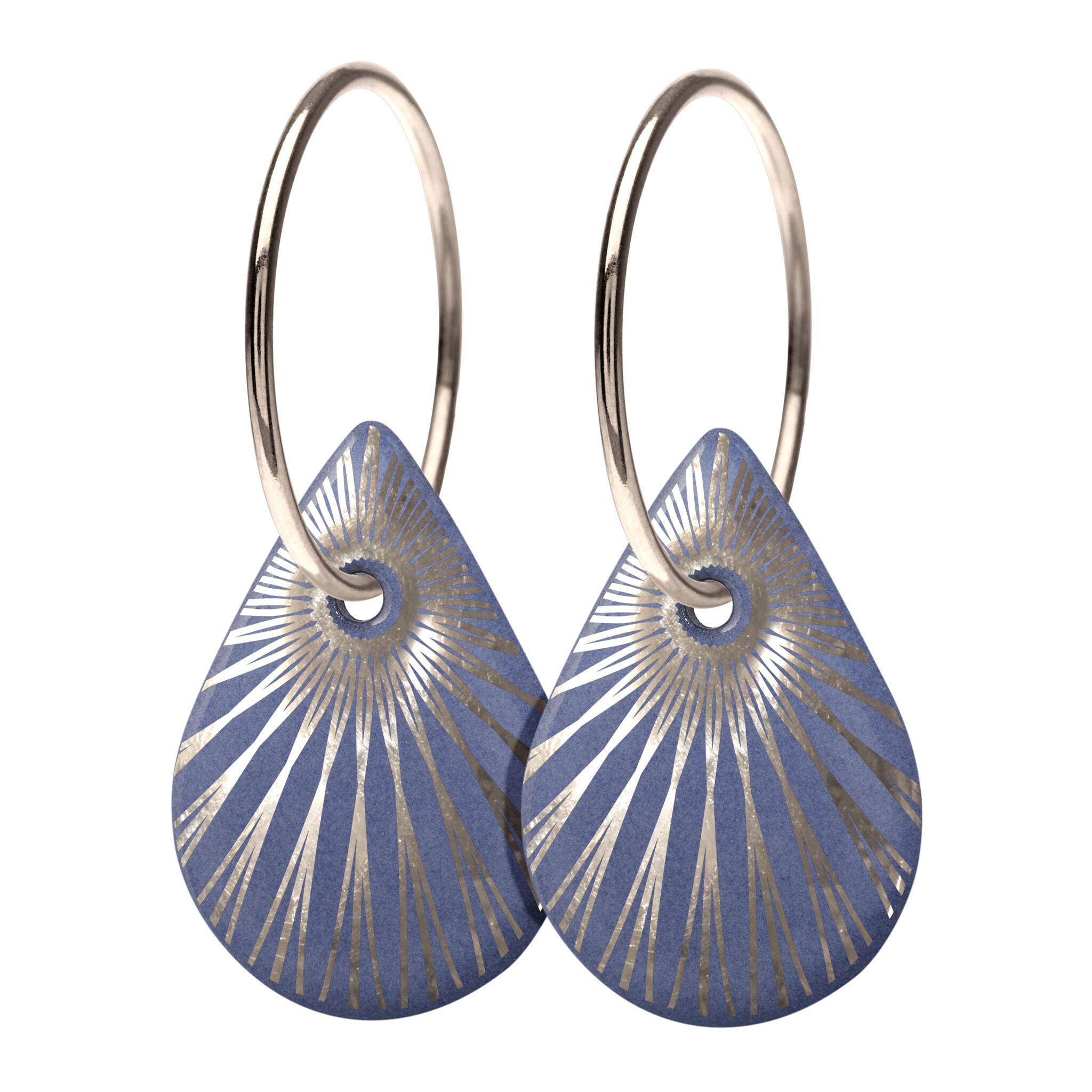 Scherning Splash Teardrop Sterling Sølv Øreringe med Porcelæn