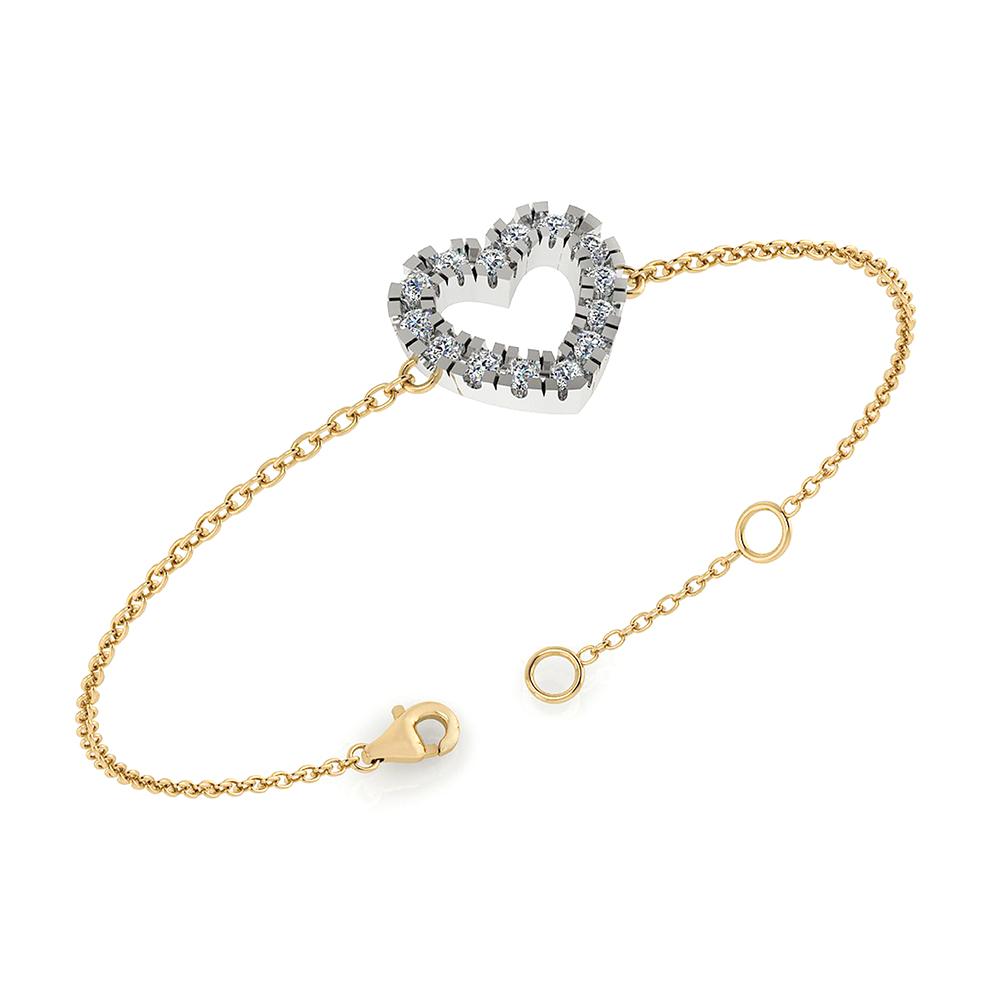Image of   14 Karat Guld Armbånd fra Henrik Ørsnes Design med Hvidguldsvedhæng og Diamanter 0,24 Carat W/SI