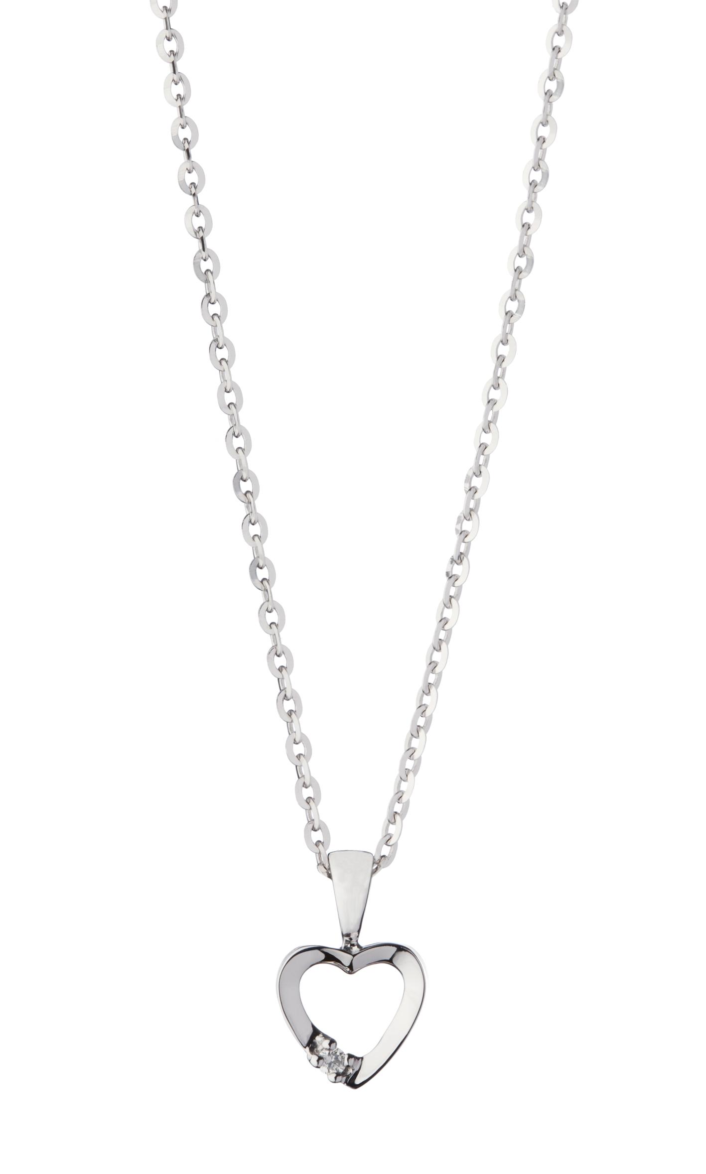 Image of   8 karat Hvidguldhjerte med Diamant