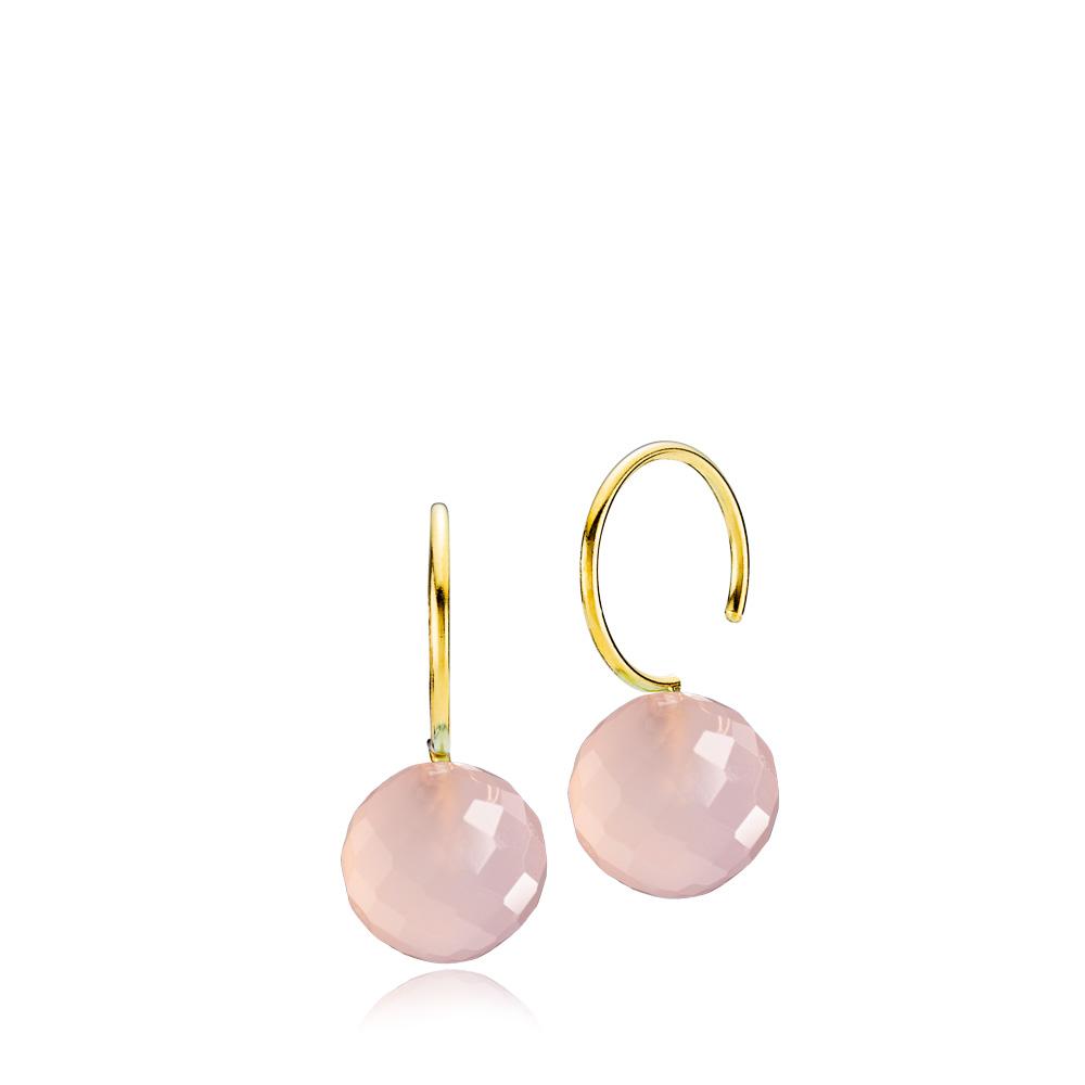 Marble Forgyldt Sølv Øreringe fra Izabel Camille med Pink Calcedon