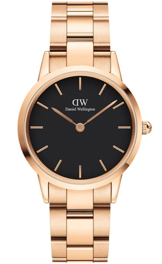 Image of   32 MM Iconic Link Rose Black Dameur Fra Daniel Wellington ADW00100212