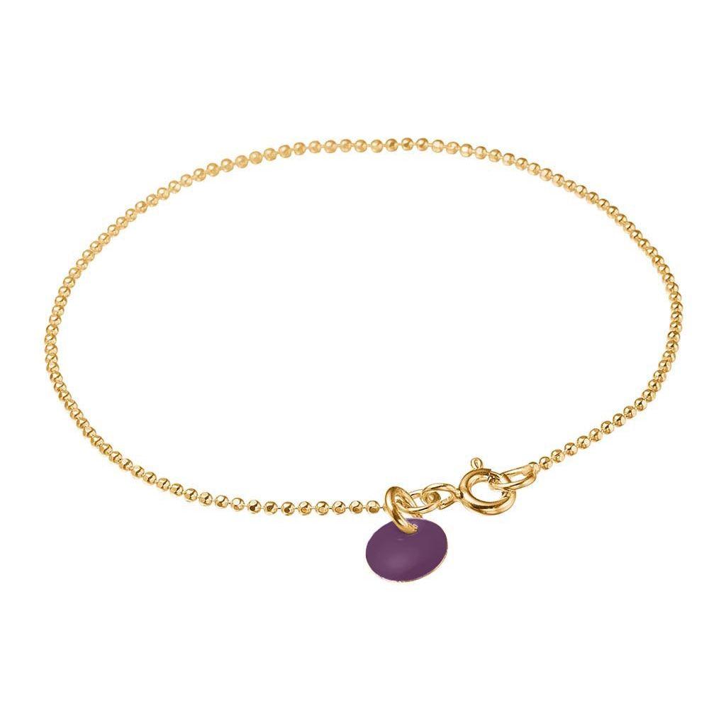 Image of   Enamel Aubergine Ball Chain Forgyldt Sølv Armbånd
